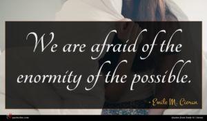 Emile M. Cioran quote : We are afraid of ...