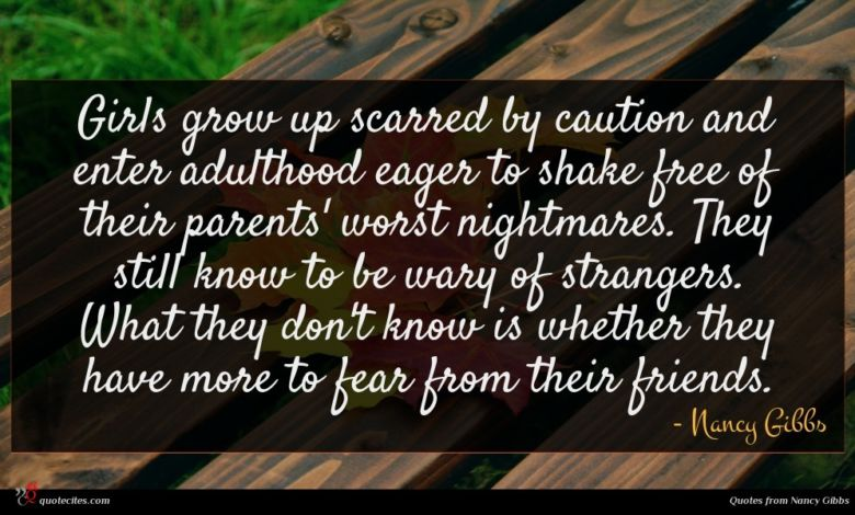 Girls grow up scarred by caution and enter adulthood eager to shake free of their parents' worst nightmares. They still know to be wary of strangers. What they don't know is whether they have more to fear from their friends.