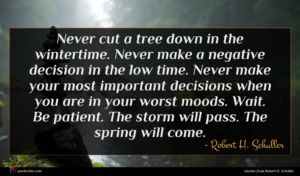 Robert H. Schuller quote : Never cut a tree ...
