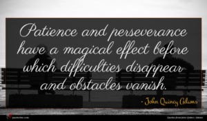 John Quincy Adams quote : Patience and perseverance have ...