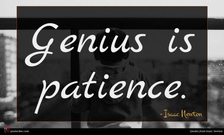 Genius is patience.