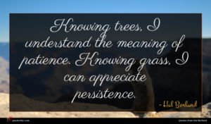 Hal Borland quote : Knowing trees I understand ...
