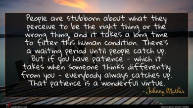 Photo of Johnny Mathis quote : People are stubborn about …
