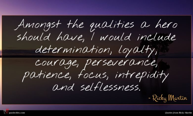 Amongst the qualities a hero should have, I would include determination, loyalty, courage, perseverance, patience, focus, intrepidity and selflessness.