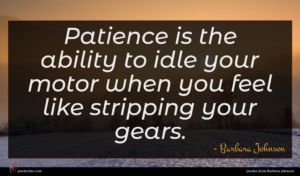 Barbara Johnson quote : Patience is the ability ...