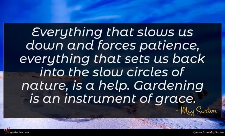 Everything that slows us down and forces patience, everything that sets us back into the slow circles of nature, is a help. Gardening is an instrument of grace.