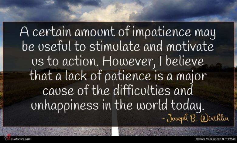 A certain amount of impatience may be useful to stimulate and motivate us to action. However, I believe that a lack of patience is a major cause of the difficulties and unhappiness in the world today.