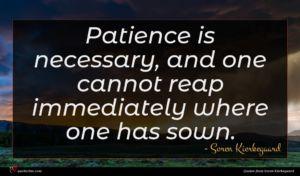 Soren Kierkegaard quote : Patience is necessary and ...