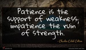 Charles Caleb Colton quote : Patience is the support ...