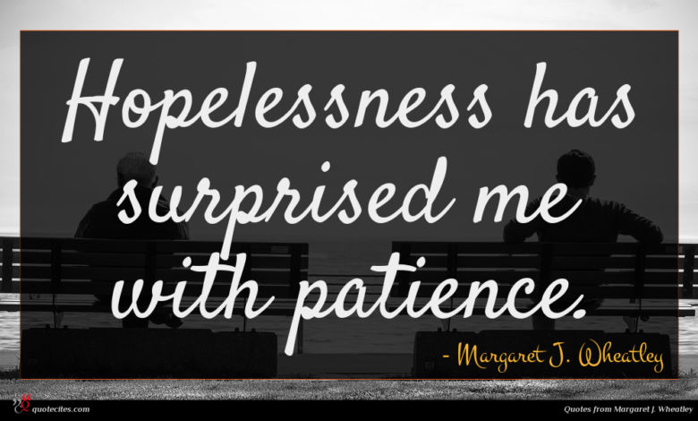 Hopelessness has surprised me with patience.