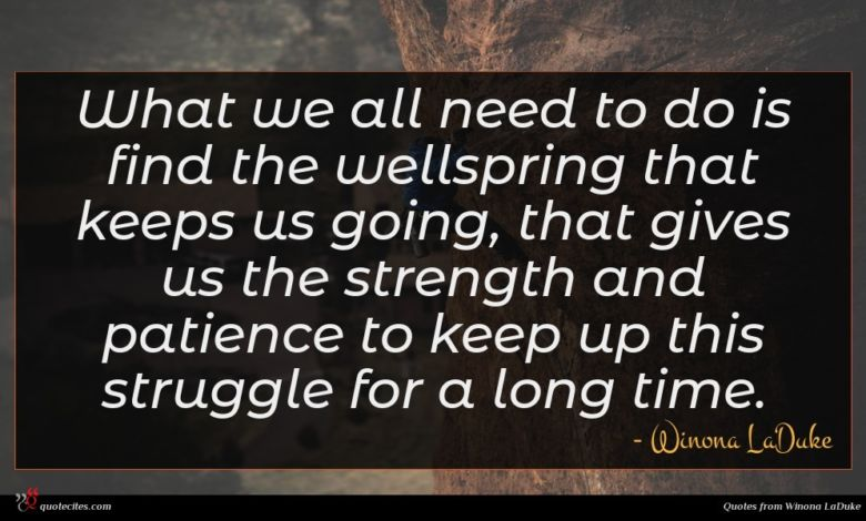 What we all need to do is find the wellspring that keeps us going, that gives us the strength and patience to keep up this struggle for a long time.