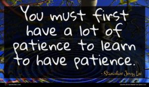 Stanisław Jerzy Lec quote : You must first have ...