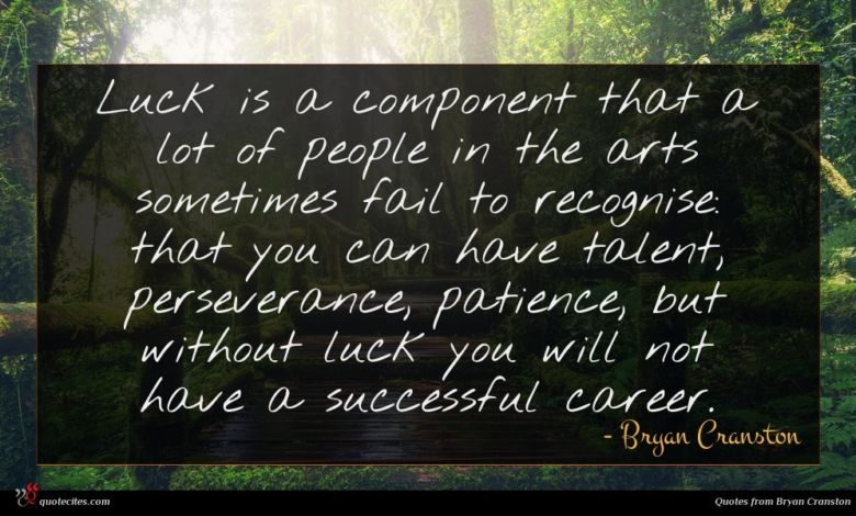 Luck is a component that a lot of people in the arts sometimes fail to recognise: that you can have talent, perseverance, patience, but without luck you will not have a successful career.