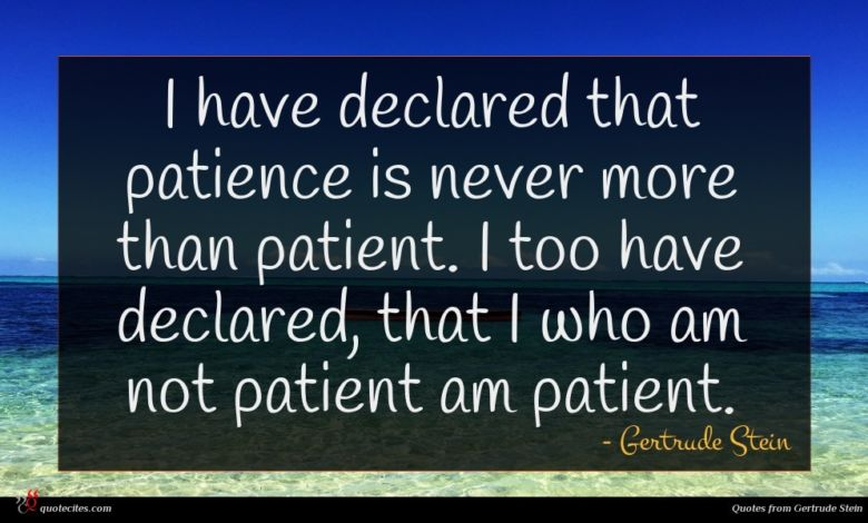 I have declared that patience is never more than patient. I too have declared, that I who am not patient am patient.