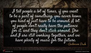 Anderson Paak quote : I tell people a ...