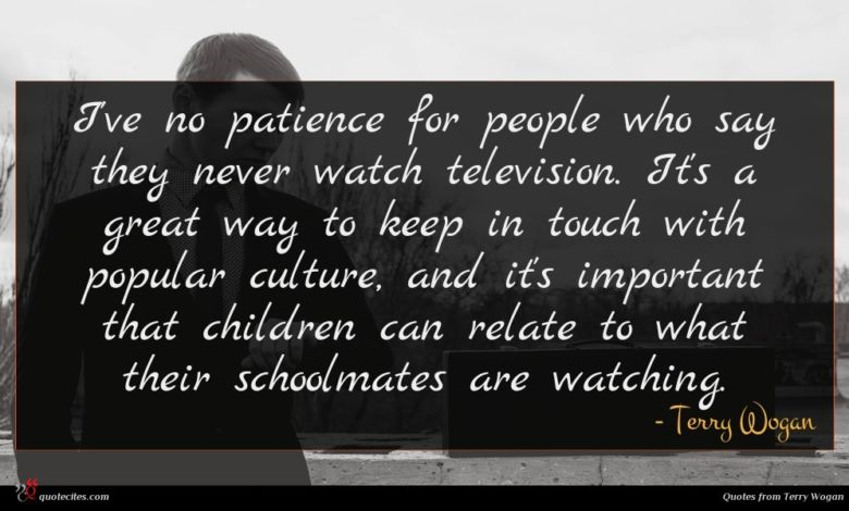 I've no patience for people who say they never watch television. It's a great way to keep in touch with popular culture, and it's important that children can relate to what their schoolmates are watching.