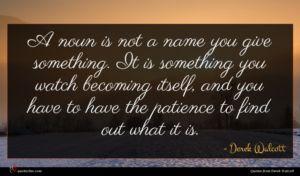 Derek Walcott quote : A noun is not ...