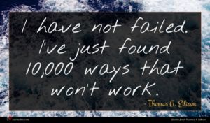 Thomas A. Edison quote : I have not failed ...