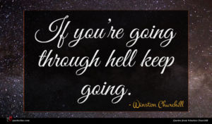 Winston Churchill quote : If you re going ...