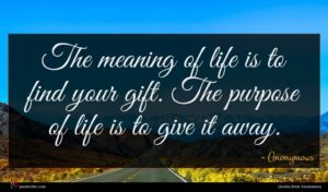 Anonymous quote : The meaning of life ...