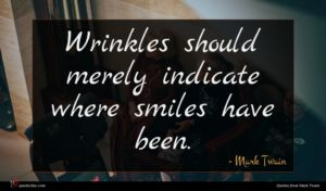 Mark Twain quote : Wrinkles should merely indicate ...