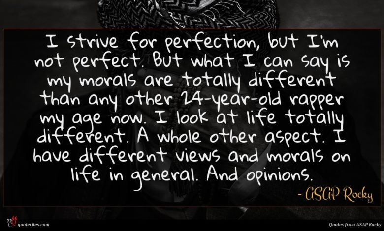I strive for perfection, but I'm not perfect. But what I can say is my morals are totally different than any other 24-year-old rapper my age now. I look at life totally different. A whole other aspect. I have different views and morals on life in general. And opinions.