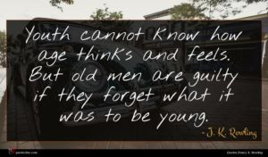 J. K. Rowling quote : Youth cannot know how ...