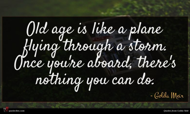 Old age is like a plane flying through a storm. Once you're aboard, there's nothing you can do.