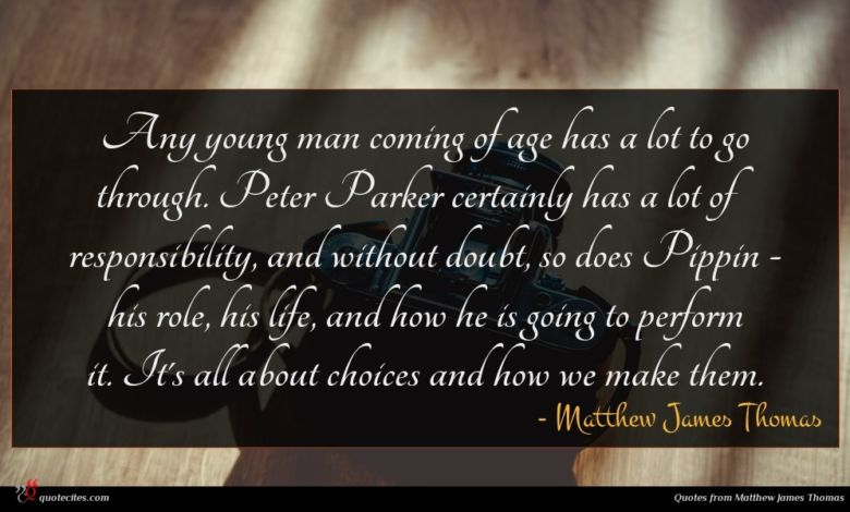 Any young man coming of age has a lot to go through. Peter Parker certainly has a lot of responsibility, and without doubt, so does Pippin - his role, his life, and how he is going to perform it. It's all about choices and how we make them.