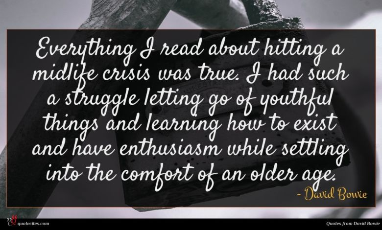 Everything I read about hitting a midlife crisis was true. I had such a struggle letting go of youthful things and learning how to exist and have enthusiasm while settling into the comfort of an older age.