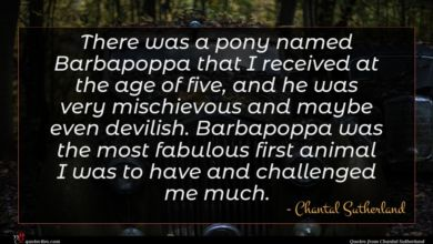 Photo of Chantal Sutherland quote : There was a pony …