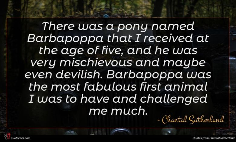 There was a pony named Barbapoppa that I received at the age of five, and he was very mischievous and maybe even devilish. Barbapoppa was the most fabulous first animal I was to have and challenged me much.