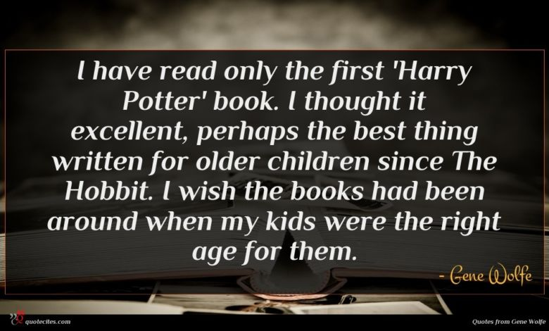 I have read only the first 'Harry Potter' book. I thought it excellent, perhaps the best thing written for older children since The Hobbit. I wish the books had been around when my kids were the right age for them.