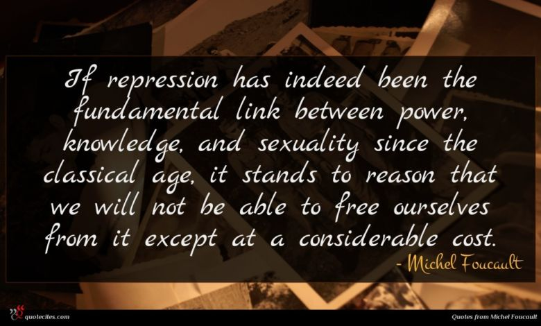 If repression has indeed been the fundamental link between power, knowledge, and sexuality since the classical age, it stands to reason that we will not be able to free ourselves from it except at a considerable cost.
