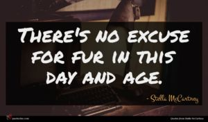 Stella McCartney quote : There's no excuse for ...