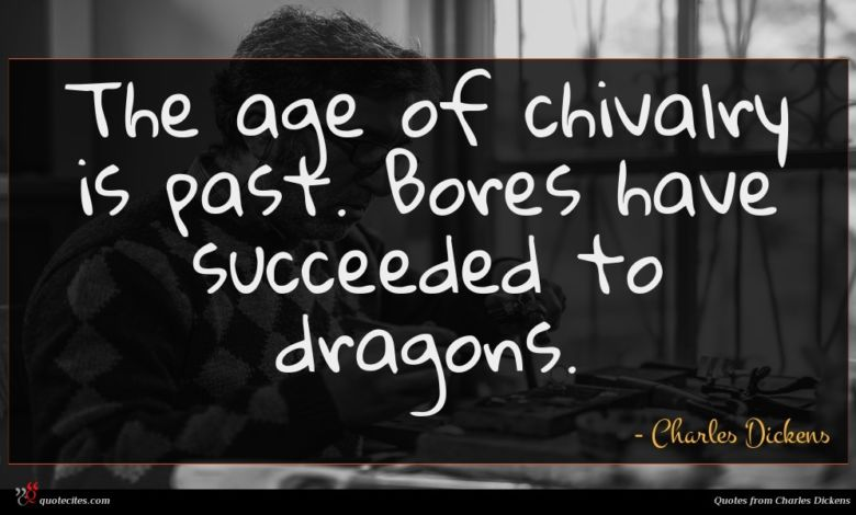 The age of chivalry is past. Bores have succeeded to dragons.