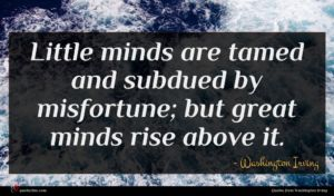Washington Irving quote : Little minds are tamed ...