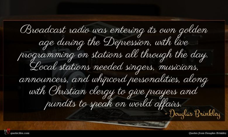 Broadcast radio was entering its own golden age during the Depression, with live programming on stations all through the day. Local stations needed singers, musicians, announcers, and whipcord personalities, along with Christian clergy to give prayers and pundits to speak on world affairs.