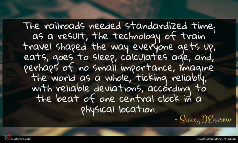 Photo of Stacey D'Erasmo quote : The railroads needed standardized …