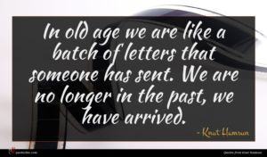 Knut Hamsun quote : In old age we ...