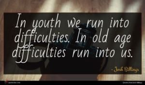 Josh Billings quote : In youth we run ...