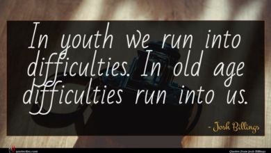 Photo of Josh Billings quote : In youth we run …