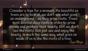 Joyce Meyer quote : Consider a tree for ...