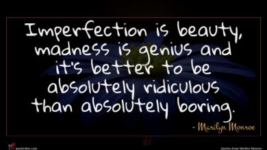 Photo of Marilyn Monroe quote : Imperfection is beauty madness …