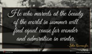 John Burroughs quote : He who marvels at ...