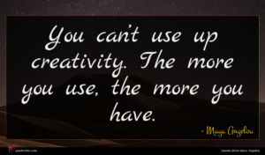 Maya Angelou quote : You can t use ...