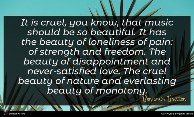 It is cruel, you know, that music should be so beautiful. It has the beauty of loneliness of pain: of strength and freedom. The beauty of disappointment and never-satisfied love. The cruel beauty of nature and everlasting beauty of monotony.