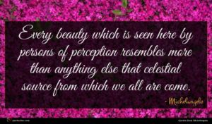 Michelangelo quote : Every beauty which is ...