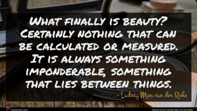 Photo of Ludwig Mies van der Rohe quote : What finally is beauty …