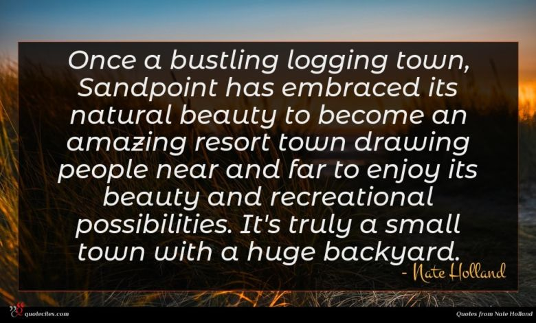 Photo of Nate Holland quote : Once a bustling logging …